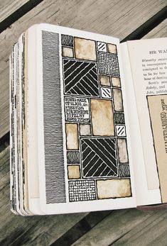 Moleskine, by Rebecca Blair inspiration for quilt blocks or color blocking in mixed media art. Sketchbook Layout, Gcse Art Sketchbook, Drawing Journal, Sketchbook Inspiration, Sketchbook Ideas, Small Sketchbook, Fashion Sketchbook, Art Journal Pages, Art Journals