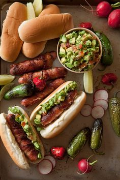 bacon hot dogs with guacamole