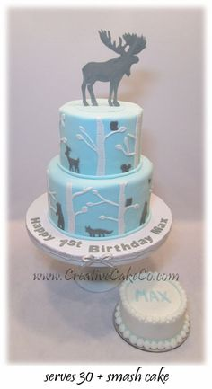 Birch tree cake with a moose topper by www.CreativeCkeCo.com
