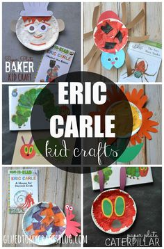 Awesome Eric Carle Kid Craft Roundup For A Good Story Time Event! Eric Carle, Preschool Books, Preschool Crafts, Daycare Crafts, Paper Plate Crafts, Book Crafts, Toddler Crafts, Crafts For Kids, Toddler Art
