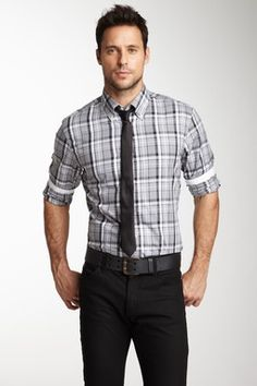 Fitted plaid shirt with tie. Nice.