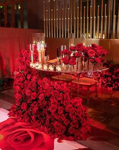 An orchestra of fully bloomed red Roses doing what only Red Roses can do. Bring eternal love and warmth to this gorgeous sweetheart table… Wedding Themes, Wedding Designs, Wedding Colors, Wedding Events, Red Wedding Decorations, Red Wedding Receptions, Red Table Decorations, Red Rose Wedding, Wedding Flowers