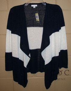 Charter Club New Open Front Cardigan Sweater Navy White Stripe Medium 335 | eBay