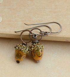 Mustard Lampwork Glass Acorn Bead & Copper Earrings £14.00