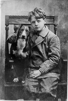 Charles Lindbergh and his dog in 1912.