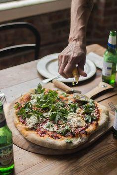 brandonscottherrell:  This is what my work meetings look like.  Homemade pizza this week.