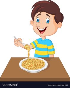 Little boy eating spaghetti vector image on VectorStock Oral Motor Activities, Bee Drawing, Action Pictures, Tools For Teaching, Kids English, Glitter Crafts, Farm Theme, Doodle Drawings, Art Classroom