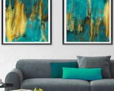 56'' Huge Contemporary Gold Painting Watercolor by JuliaApostolova