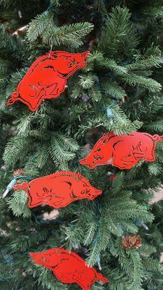 Licensed Arkansas Razorback Christmas by AtTheEndOfTheRoad on Etsy Christmas 2014, Diy Christmas Ornaments, Christmas Decorations, Woo Pig Sooie, Homemade Art, Holiday Ideas, Holiday Decor, Arkansas Razorbacks, Pigs