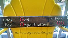 Items similar to Repurposed wood sign hand painted GO on Etsy