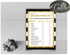Who KNOWS MOMMY BEST baby shower game with black stripes color theme printable, gold glitter, instant download - bs001 #babyshowergames #babyshower