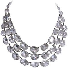 Preowned Dramatic Art Deco Crystal Bib Necklace ($1,450) ❤ liked on Polyvore featuring jewelry, necklaces, multiple, chains jewelry, crystal stone necklace, crystal jewelry, adjustable necklace and chain necklace