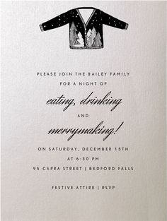 Oyster by Paperless Post. Send custom online holiday party invitations with our easy-to-use design tools and RSVP tracking. View more holiday invitations on paperlesspost.com.  #christmas #emmy #grammy #motif #oscar