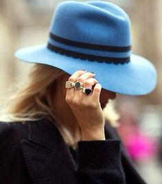 Classic signet rings, blue felt hat, mash up style
