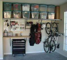 Storage idea for the shed/garage. I like how the bikes are hung low and accessible.  Question:  What do I really use and need?