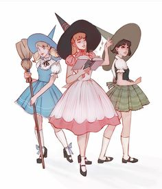 """""""the powerpuff girls as vintage witches"""" Pretty Art, Cute Art, Super Nana, Witch Drawing, Arte Do Kawaii, Poses References, Vintage Witch, Witch Art, Cartoon Art Styles"""