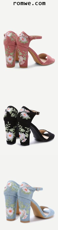 Flower Embroidery Chunky Heel Sandals