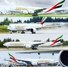 4 aircraft deliveries in 1 day. The top picture is the Airbus the middle 2 are Boeing and the bottom one is Boeing (freighter). Airbus A380, Boeing 777, Helicopter Plane, Emirates Airline, Flight Attendant, Airplane, Places To Travel, Planes, Aircraft