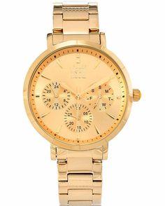 Από τον οίκο Visetti ένα μοντέρνο ρολόι από χρυσό ανοξείδωτο ατσάλι με χρυσό καντράν Stainless Steel Bracelet, Gold Watch, Watches, Bracelets, Accessories, Clocks, Clock, Bracelet, Arm Bracelets