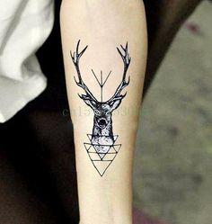Waterproof Temporary Tattoo Sticker elk head deer tattoo bucks horn antlers Water Transfer fake tattoo flash tattoo for men girl