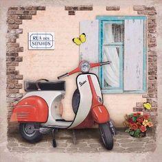 Decoupage-Arte-Francesa-Quadrado-AFQ-336-Litoarte Decoupage Vintage, Decoupage Paper, Vintage Diy, Vintage Cards, Posters Vintage, Images Vintage, Retro Poster, Vintage Prints, Diy Image