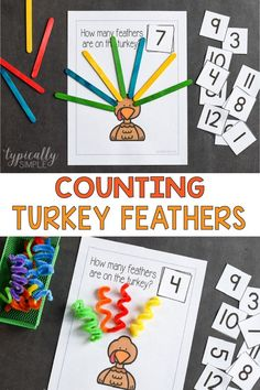 Counting turkey feathers is such a fun activity to practice math skills! Use this printable to create a low-prep math activity perfect for Thanksgiving! Thanksgiving Activities For Kids, Thanksgiving Traditions, Thanksgiving Ideas, Math Literacy, Preschool Activities, Preschool Learning, Alphabet Coloring Pages, Turkey Feathers, Early Math