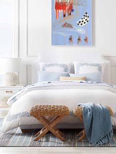 Classic blue and white bedroom design with wicker x bench at foot of bed by Serena & Lily on Thou Swell #bedroom #bedroomdesign #wicker #wickerbench #xbench