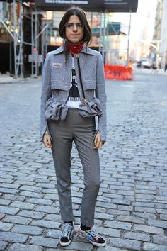 Leandra Medine wears HANLEY slim grey pant on ManRepeller.com | #HANLEYXNYC