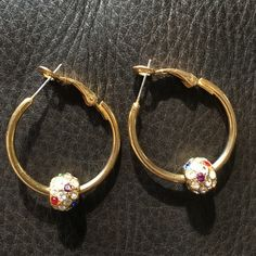 Vintage gold and multi-colored rhinestone earrings Vintage gold-plated hoop earrings with multi-colored rhinestone balls. Perfect condition. Probably worn once or twice. Jewelry Earrings