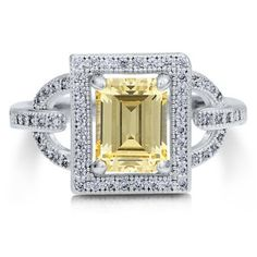 Amazon.com: Sterling Silver 925 Emerald Cut Canary Cubic Zirconia CZ Halo Ring - Nickel Free Engagement Wedding Ring: Jewelry