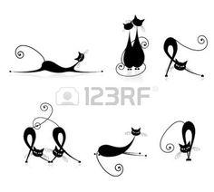 animali bianco e nero: Sagome di grazioso gatti neri per la progettazione