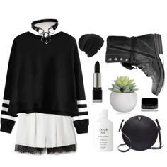 Casual goth. by shadowofday on Polyvore featuring Nicholas, American Rag Cie, Valextra, Coal, MAKE UP FOR EVER, Illamasqua and Fresh