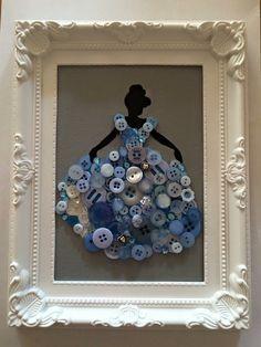 Disney princess framed button canvas
