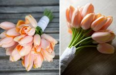 gorgeous wedding flowers monochromatic bridal bouquets peach tulips- with a detailed dress
