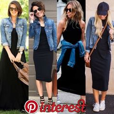 A jaqueta jeans é uma peça super verão! Ela deixa o visual descontraído e es… The denim jacket is a super summer garment! It leaves the look relaxed and stylish, so wearing it with that basic black dress that may seem more serious is Jean Jacket Outfits, Black Dress Outfits, Outfit Jeans, Skirt Outfits, Blue Jean Outfits, Denim Jacket Fashion, Jacket Jeans, Mode Outfits, Chic Outfits