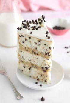 Chocolate Chip Cookies and Milk Cake Schokoladenkekse und Milchkuchen Cupcake Recipes, Cupcake Cakes, Dessert Recipes, Cookie Cakes, Pie Dessert, Milk Recipes, Dinner Recipes, Healthy Recipes, Food Cakes