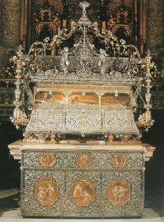 Tomb of St. Ferdinand III of Castile (Seville Cathedral, Spain) King Ferdinand III 1199-1252, King of Spain (Castile and Leon), My 19th Great Grand Father and Father of Eleanor of Castile, Queen Consort to Edward I of England My 18th Great Grand Mother and Father.