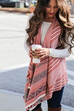 Trendy Fall vest with asymmetrical hem and geometric prints throughout! You're the Best Vest