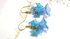 Jewelry Frosted Soft Blue Lily Flower Lucite by LeBuaJewelry