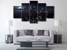 5 Panel Framed Hogwarts Castle Harry Potter Canvas Art