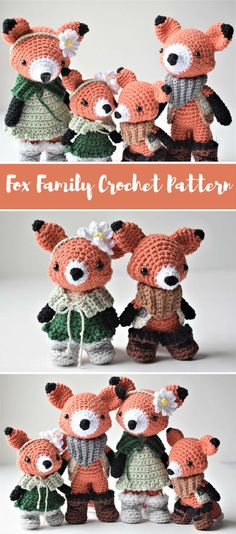 Fox family crochet pattern. Crochet this cute fox family! Photo tutorial. #ad #pdf #crochet #crochetfox #crochetpattern #crochet #amigurumipattern
