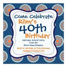 Convite de festas alaranjado azul do aniversário