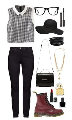 """""""Untitled #41"""" by kaleighi ❤ liked on Polyvore featuring DNY, Dr. Martens, Mackage, Muse, Dorothy Perkins, Pieces, Vince Camuto, Laura Mercier, Marc Jacobs and RGB"""