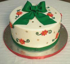 Green Christmas bow cake.