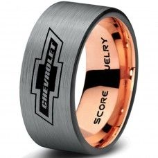 Silver Tungsten Ring with Flat Edge Brushed Finish 8mm Tungsten Wedding Band Chevy Bowtie Ring Chevrolet Ring Chevy Ring
