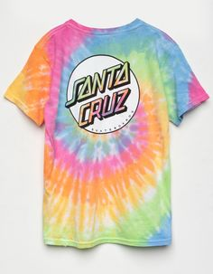 Allover tie dye tee with a Santa Cruz Dot logo at the left chest and screened on the back. Short sleeves with a crew neck. Girls Tees, Boys T Shirts, Cute Shirts, Stylish Outfits, Fall Outfits, Cute Outfits, Santa Cruz Shirt, Dot Logo, Black Leggings Style