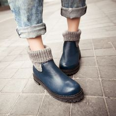 Wool Ankle Boots High Heels Women Shoes Fall Winter 1089
