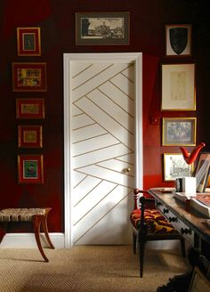 Decorate a door with brass nail-heads