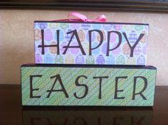 Wood Happy Easter Block Stacker   Seasonal/Spring by staceymoeves, $15.00