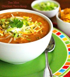 On a busy day this creamy and spicy Tex Mex Chicken Taco Soup is just what the d. On a busy day this creamy and spicy Tex Mex Chicken Taco Soup is just what the doctor ordered. It's a fiesta in a bowl. Tex Mex Chicken, Chicken Taco Soup, Chicken Soup Recipes, Chicken Tacos, Chicken Orzo, Cooked Chicken, Creamy Chicken, Lemon Chicken, Bowl Of Soup